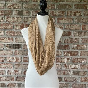 "D&Y Tan Loose Knit Infinity Scarf 24"" x 48"""